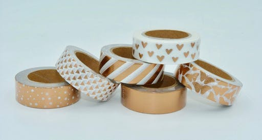 Masking Tape cuivre ( pois, rayures, triangles, papillons, coeurs), bestseller, nouveauté- emballage planner scrapbooking craft