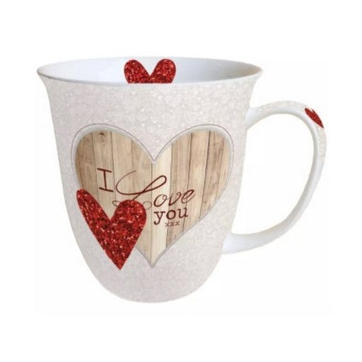 Mug, tasse porcelaine AMBIENTE 10.5 cm 0.4 l I LOVE YOU