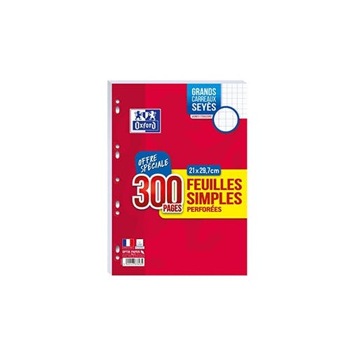 OXFORD 300 FEUILLES SIMPLES PERFOREES GRANDS CARREAUX SEYES 21X29,7