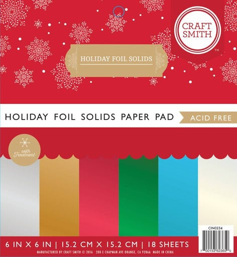 Paper pad Holiday Foil Solids de Craft Smith (15.2 x 15.2)