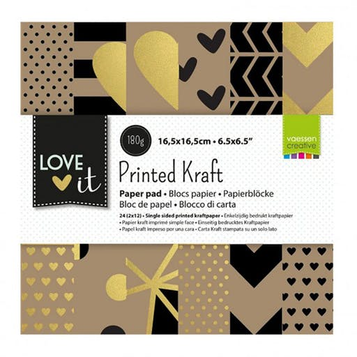Paper pad kraft Love It de Vaessen Creative (15x15 cm)