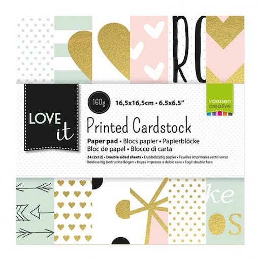 Paper pad Love It de Vaessen Creative (15x15 cm)
