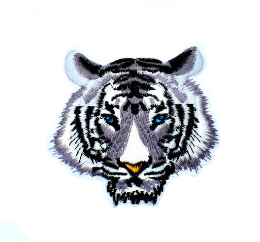 Patch brodé tigre gris, écusson thermocollant pour customisation, 9 cm