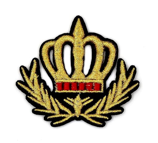 Patch couronne royale, blason, écusson brodé thermocollant 8 cm