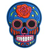 Patch tête de mort mexicaine, sugar skull, jour des morts, écusson thermocollant, 10 cm