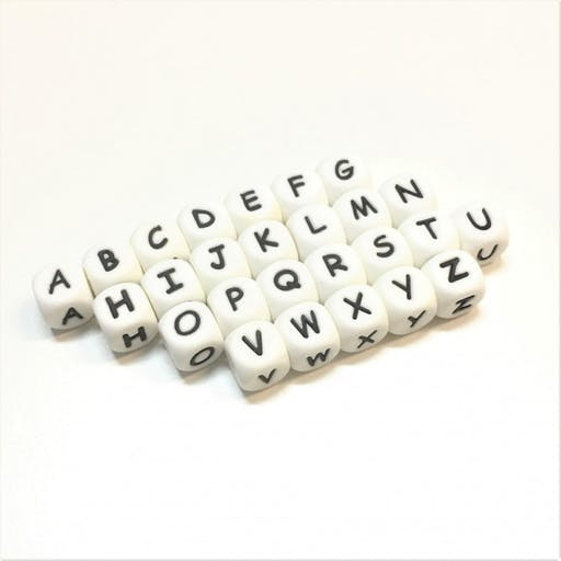 Perles Silicone Lettre Alphabet 12mm Blanc Lettre - A