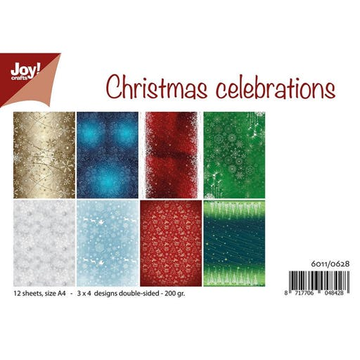 Set de 12 feuilles recto verso A4 Christmas Celebrations de Joy!Crafts