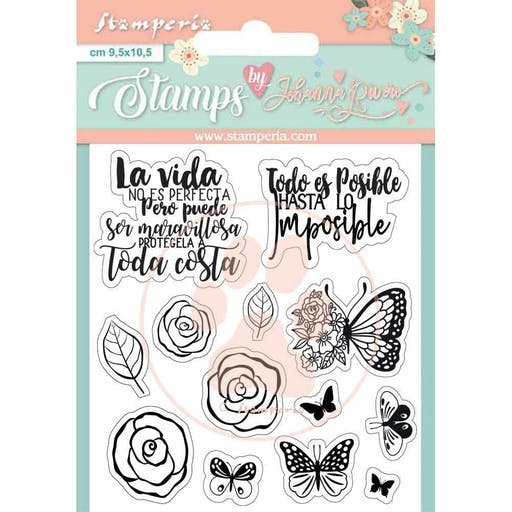 Set de tampons transparents Circle of Love Roses and Butterfly de Stamperia