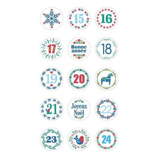 Stickers ronds Calendrier de l'Avent Folk