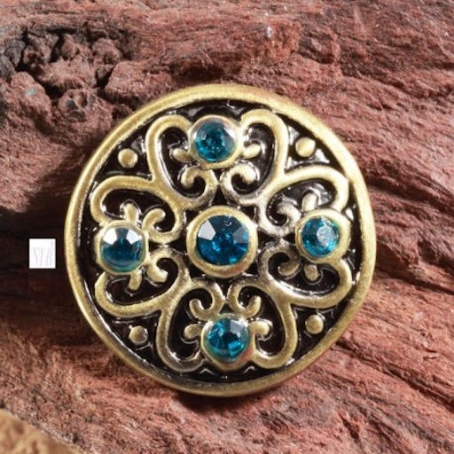 support bouton pression rond bronze fleur et strass turquoise  20mm