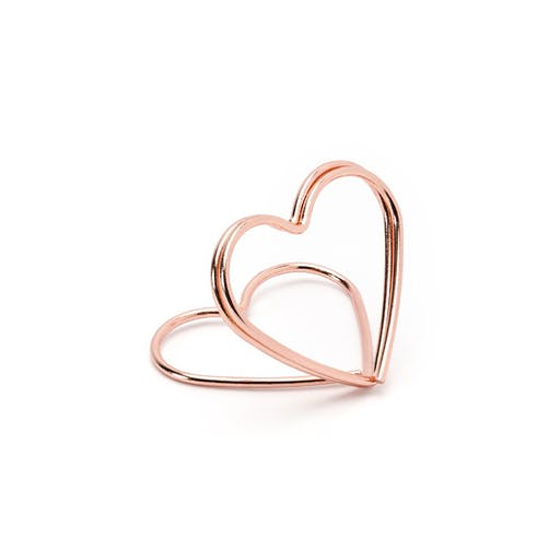 Support marque place coeur rose gold x10