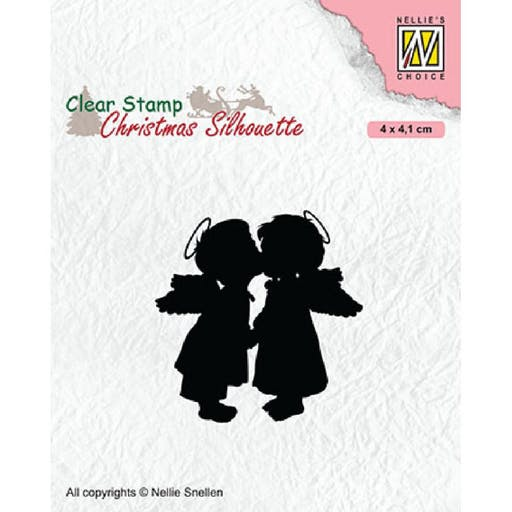 Tampon transparent Christmas silhouette Two kissing angels de Nellie's Choice