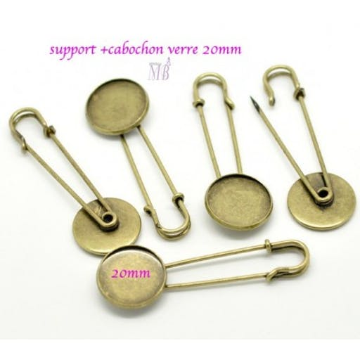 5 supports broche épingle plateau rond bronze 20mm